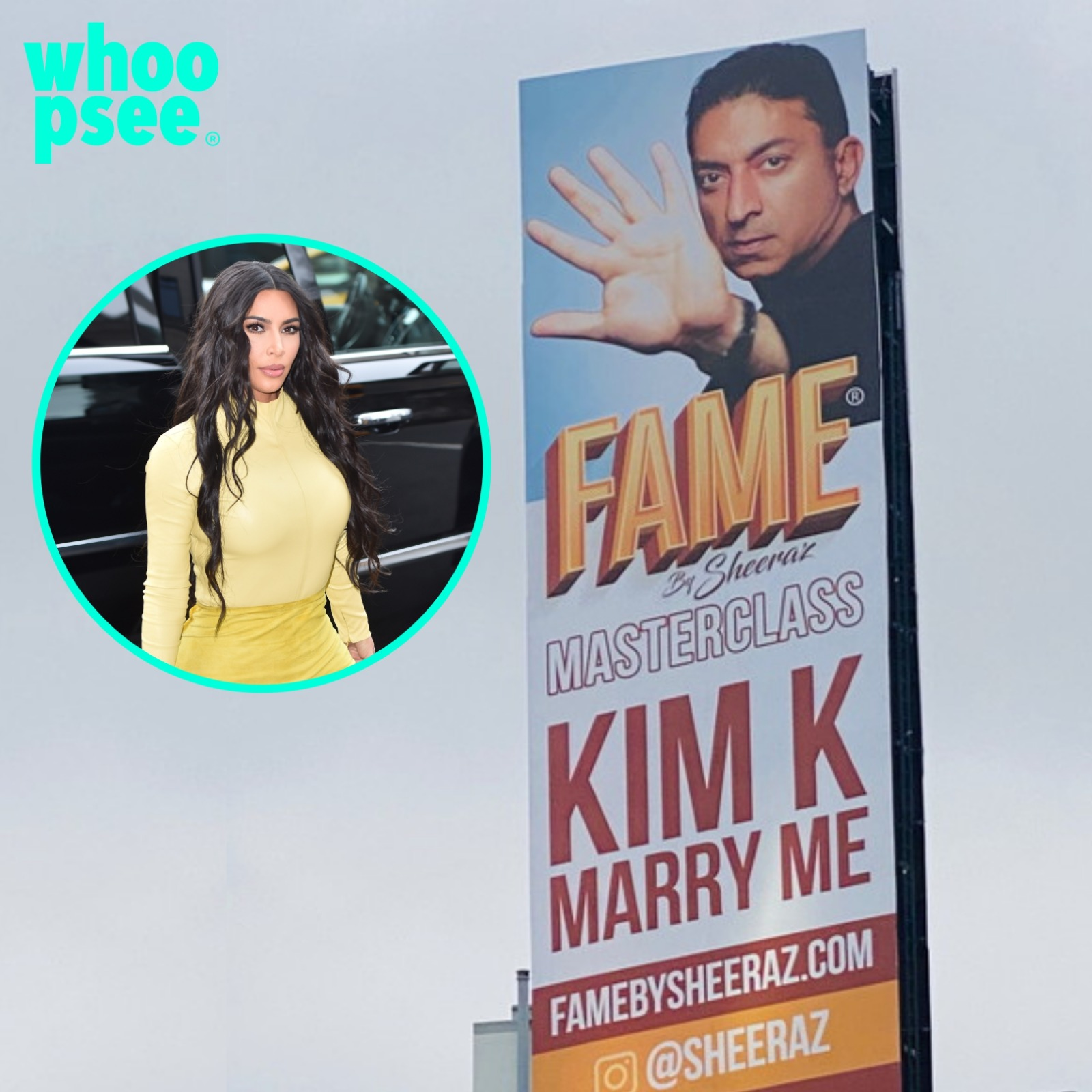 Cartellone proposta di matrimonio a Kim Kardashian